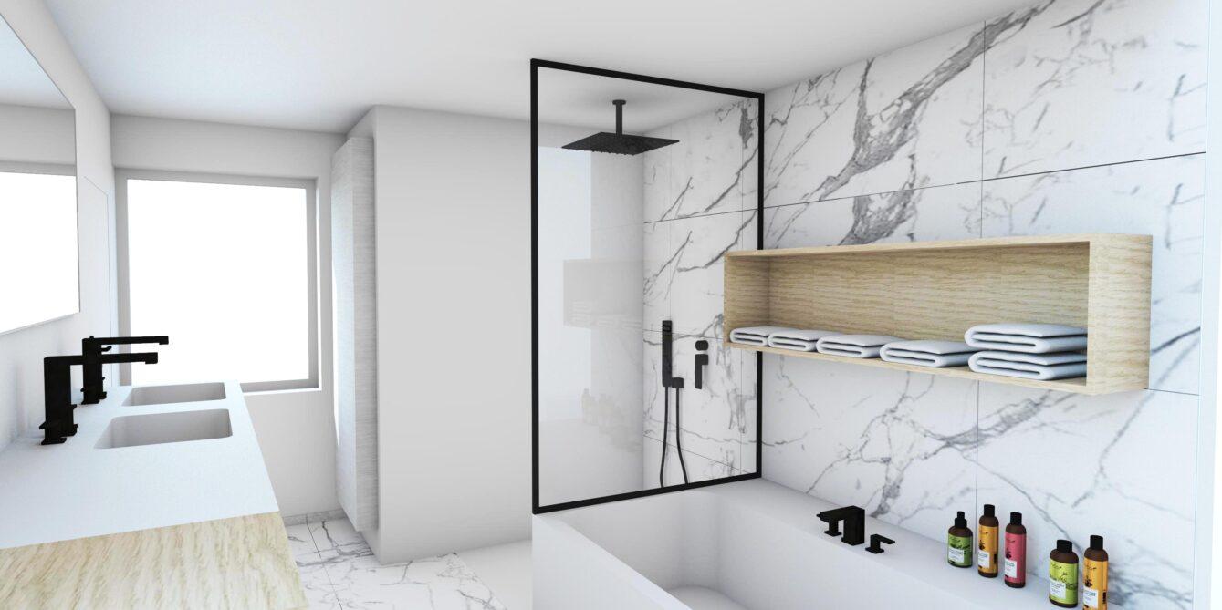 Evolution-interieurwinkel-hasselt-design-meubels-totaalprojecten-familie-p-badkamer-douche-bad-marmer-zwart-wit-3D-visualisatie