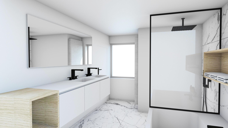 Evolution-interieurwinkel-hasselt-design-meubels-totaalprojecten-familie-p-badkamer-douche-wasbak-marmer-zwart-wit-3D-visualisatie